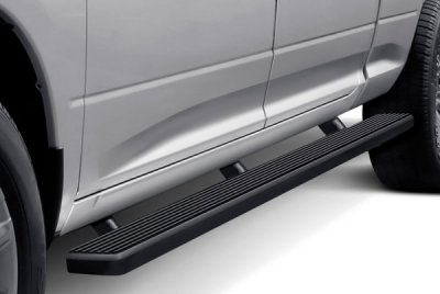 Ford F250 Super Duty Crew Cab Long Bed 2011-2016 Wheel-to-Wheel Running Boards Step Bars Black Aluminum 5 Inch