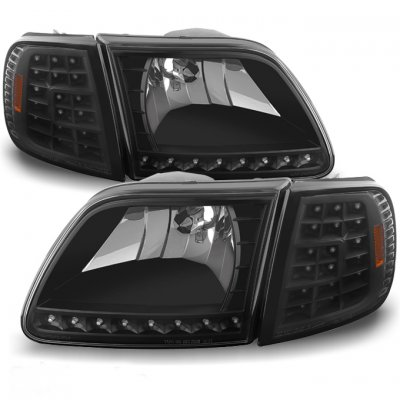 Ford Expedition 1997-2002 Black Euro Headlights and LED Corner Lights Set