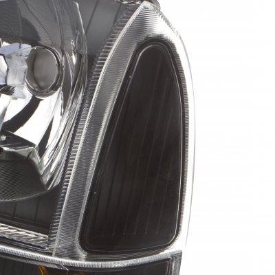 Ford F250 1999-2004 Black Headlights Set and LED Tail Lights