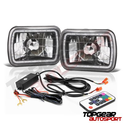 Chevy Astro 1985-1994 Black Color SMD LED Sealed Beam Headlight Conversion Remote