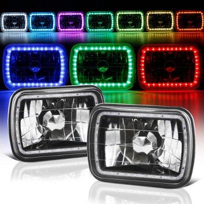 Dodge Ram 350 1981-1993 Black Color SMD LED Sealed Beam Headlight Conversion Remote
