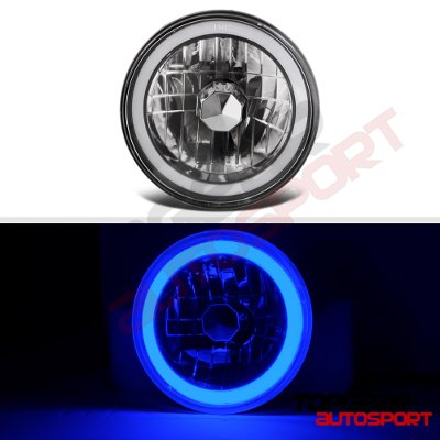 Mazda RX7 1978-1985 Black Blue Halo Tube Sealed Beam Headlight Conversion