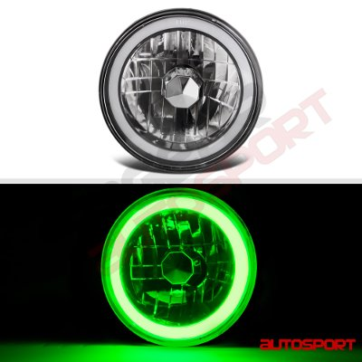 Land Rover Defender 1993-1997 Black Green Halo Tube Sealed Beam Headlight  Conversion