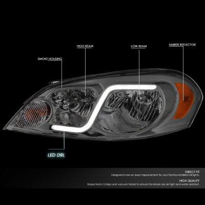 Chevy Impala Limited 2014-2016 Smoked Headlights Tube DRL