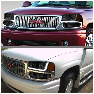GMC Sierra Denali 2002-2006 Black Smoked Headlights Tube DRL