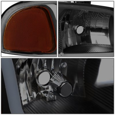 GMC Yukon 2000-2006 Black Smoked Headlights Tube DRL