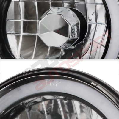 Ford F250 1969-1979 Black Red Halo Tube Sealed Beam Headlight Conversion