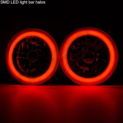 Suzuki Samurai 1986-1995 Black Red Halo Tube Sealed Beam Headlight Conversion