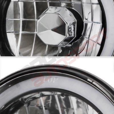 Buick Skylark 1975-1979 Black Red Halo Tube Sealed Beam Headlight Conversion