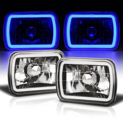 Nissan 240SX 1989-1994 Black Blue Halo Tube Sealed Beam Headlight Conversion
