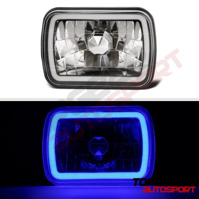 Dodge Aries 1981-1989 Black Blue Halo Tube Sealed Beam Headlight Conversion