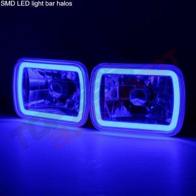 GMC Suburban 1981-1999 Black Blue Halo Tube Sealed Beam Headlight Conversion