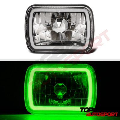 Honda Prelude 1984-1991 Black Green Halo Tube Sealed Beam Headlight Conversion