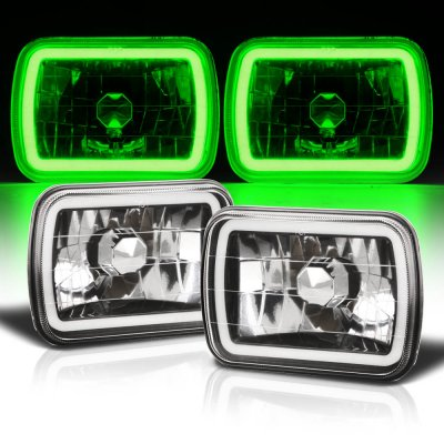 Toyota Celica 1982-1993 Black Green Halo Tube Sealed Beam Headlight Conversion
