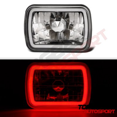 Ford F250 1999-2004 Black Red Halo Tube Sealed Beam Headlight Conversion