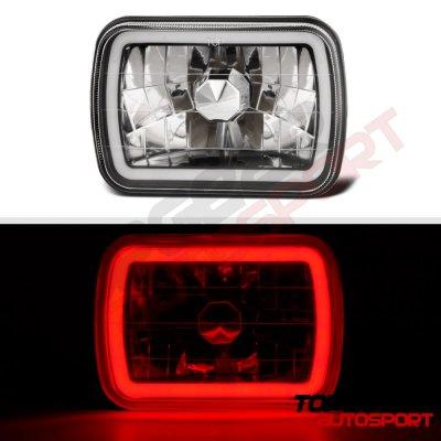 GMC Suburban 1981-1999 Black Red Halo Tube Sealed Beam Headlight Conversion
