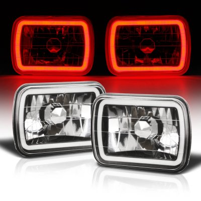 GMC Suburban 1981-1999 Black Red Halo Tube Sealed Beam Headlight Conversion