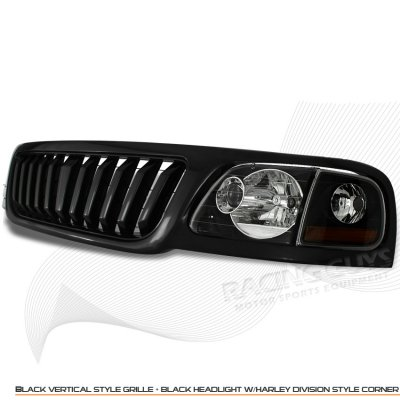 2002 Ford F150 Black Vertical Grille and Euro Headlights