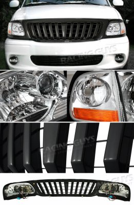 2002 Ford F150 Black Vertical Grille and Clear Euro Headlights