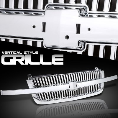 Chevy Silverado 2003-2005 Chrome Bar Vertical Grille