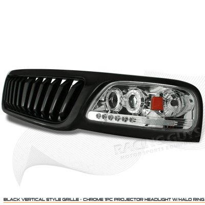2002 Ford F150 Black Vertical Grille and Clear Projector Headlights