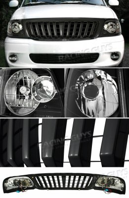 Ford F150 1999-2003 Black Vertical Grille and Euro Headlights