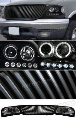 2002 Ford F150 Black Vertical Grille and Projector Headlights