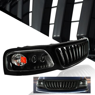 Ford F150 1999-2003 Black Vertical Grille and Halo Projector Headlights Set