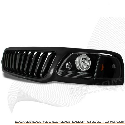 Jeep Wrangler Fog Lights >> Ford Expedition 1999-2002 Black Vertical Grille and Headlights | A1012Y91152 - TopGearAutosport