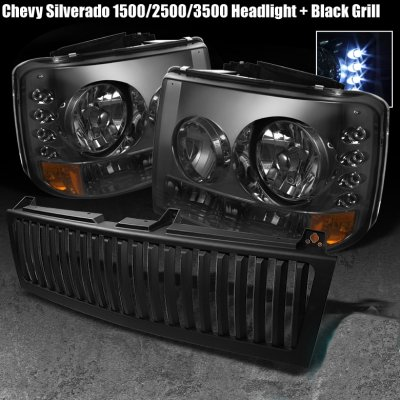 Chevy Tahoe 2000 2006 Black Vertical Grille And Smoked Headlights With Led
