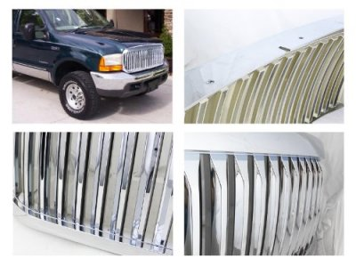 Ford F250 Super Duty 1999 2004 Chrome Vertical Grille