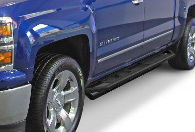 Chevy Silverado Crew Cab 2007-2014 iArmor Side Step Running Boards Black Aluminum