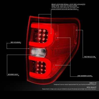 Ford F150 2009-2014 LED Tail Lights Red C-Tube