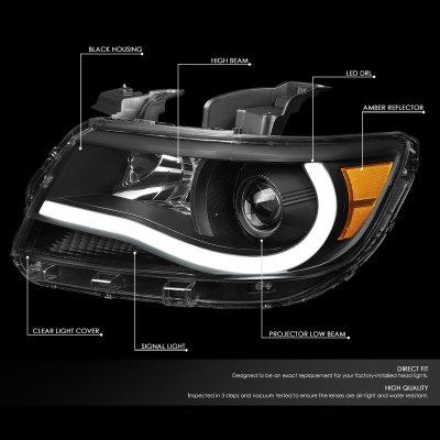 Chevy Colorado 2015-2020 Black Projector Headlights Tube DRL