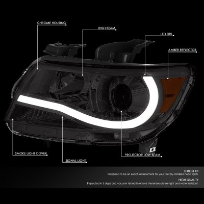 Chevy Colorado 2015-2020 Smoked Projector Headlights Tube DRL