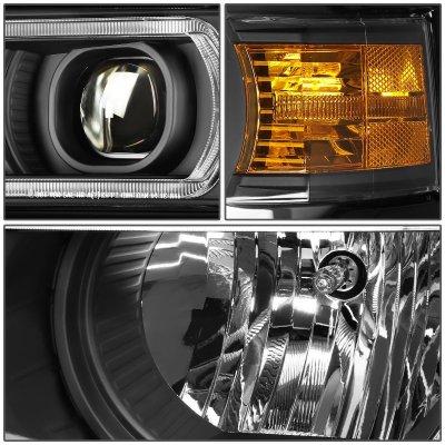 Chevy Silverado 1500 2014-2015 Black Projector Headlights Tube DRL