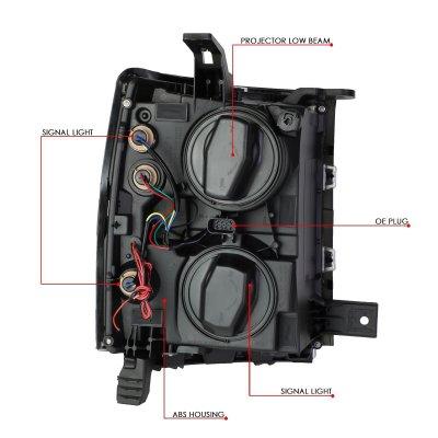 Chevy Silverado 1500 2014-2015 Smoked Projector Headlights Tube DRL