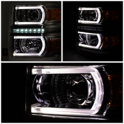 Chevy Silverado 1500 2014-2015 Smoked Projector Headlights Tube DRL