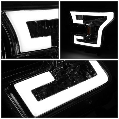 Ford F150 2015-2017 Smoked Projector Headlights Tube DRL