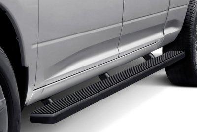 GMC Sierra Double Cab Long Bed 2014-2018 Wheel-to-Wheel iBoard Running Boards Black Aluminum 5 Inch