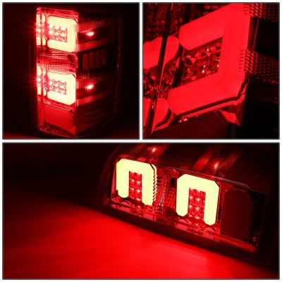 Chevy Silverado 2014-2018 LED Tail Lights Red C-Tube