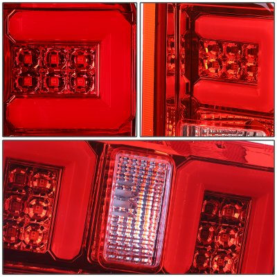 Chevy Silverado 2500HD 2015-2019 LED Tail Lights Red C-Tube