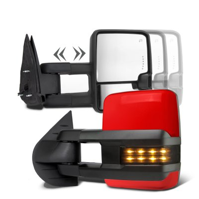 Chevy Silverado 2007 2013 Red Towing Mirrors Smoked Led