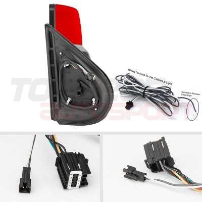 Chevy Silverado 2500HD 2007-2014 Red Towing Mirrors Smoked LED Signal Lights Power Heated