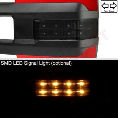 GMC Sierra 2007-2013 Red Towing Mirrors Smoked LED Signal Lights Power Heated