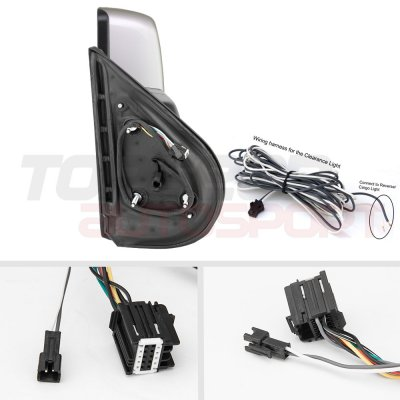 Chevy Silverado 2500HD 2007-2014 Silver Towing Mirrors Smoked LED Lights Power Heated