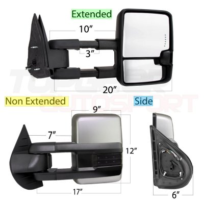 GMC Sierra 2007-2013 Silver Towing Mirrors Smoked LED Signal Lights Power Heated