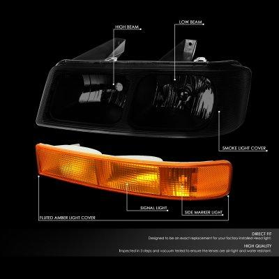 Chevy Express 2003-2021 Black Smoked Headlights Amber Bumper Lights