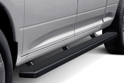 Chevy Silverado 2500HD Crew Cab Short Bed 2007-2014 Wheel-to-Wheel iBoard Running Boards Black Aluminum 6 Inch