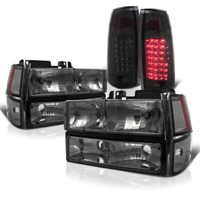 Chevy Silverado 1988-1993 Smoked Headlights and LED Tail Lights